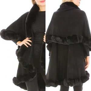 NEW! Luxury Double Faux Fur Collared Cape Coat